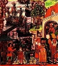 Haven in 15de eeuw met koggeschepen.