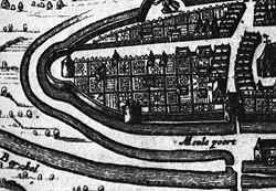 Detail van Lochem uit de gravure van Nicolaas van Geelkercken uit 1650.
