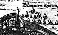 Blauwe Toren in Lochem uit een gravure van Nicolaas van Geelkercken (ca. 1650).