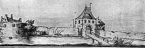 Molenpoort in Lochem in 1607 (tekening Jacob van Stellingwerf, onbetrouwbaar).
