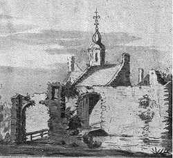 Walderpoort in Lochem in 1607 (tekening Jacob van Stellingwerf, onbetrouwbaar)..
