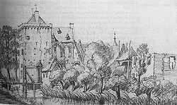 Huis Rijswijk, anno 1742(?), gewassen pentekening door Jan de Beyer.