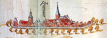 De stad Zevenaar in 1577.