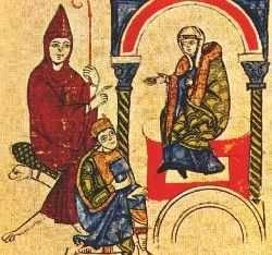 Heinrich IV bij de paus in Canossa.