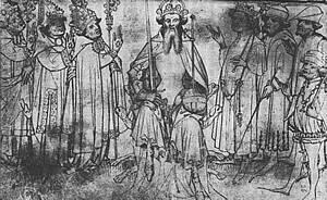 De keizer en zijn zeven keurvorsten in Wapenboek Gelre.