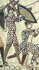 Soldaat met byrnie (tapijt van Bayeux, 1066).