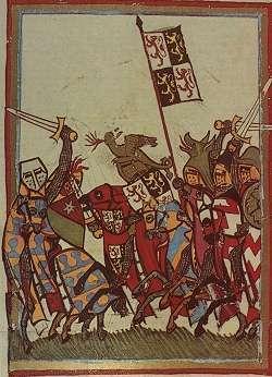 Hertog Jan I van Brabant in de slag bij Woeringen (14de eeuws miniatuur).