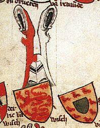 Nieuwe en oude wapen van Wisch in de codex van heraut Gelre (eind 14de eeuw).