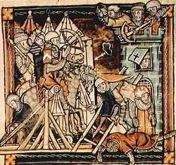 Belegering in de 14de eeuw met werpmachines.