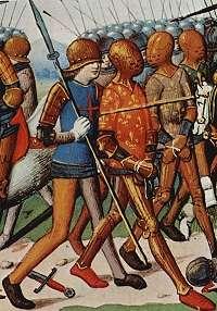 Gevangen ridder wordt afgevoerd in 1415.