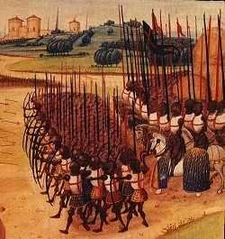 Opstelling van een slagorde in 1415.