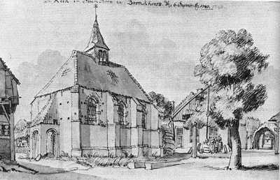 De kapel op een tekening van Jan de Beyer, anno 1743.