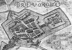 Bredevoort ontstaat bij een kasteel (gravure uit 1597).