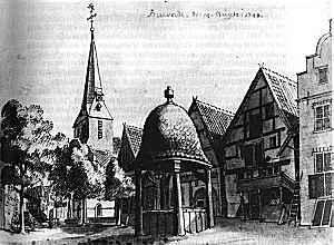 Marktzicht door Jan de Beijer op 14 augustus 1743.