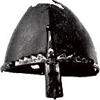 Spits-conische helm.