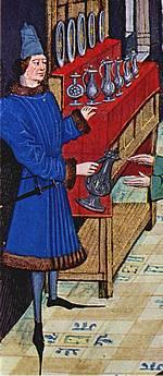 De schenker in actie, 15de eeuw.