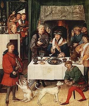 De landsheer aan tafel omringd door zijn functionarissen o.a. de schenker (met handdoek), 15de eeuw.