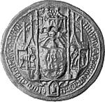Zegel van Maria van Brabnt. Klik hier voor een grotere afbeelding (300 dpi, 50 KB).