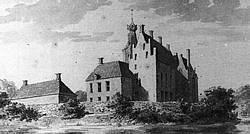 Kasteel Rechteren in 1733 van achteren gezien (C. Pronk).