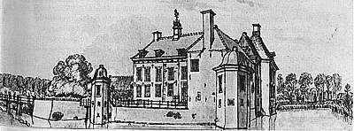Huis 't Velde anno 1743 (tekening van De Beyer).