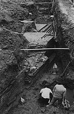 Opgraving van kasteel Sevenaer in 1984.