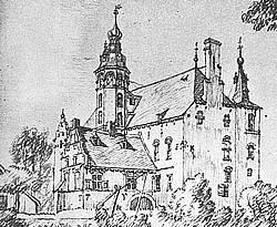 Huis Sevenaer in 1745 (tekening Jan de Beyer).