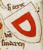 Wapen van Dirc van Sinderen, opgetekend door de Heraut Gelre (veertiende eeuw).