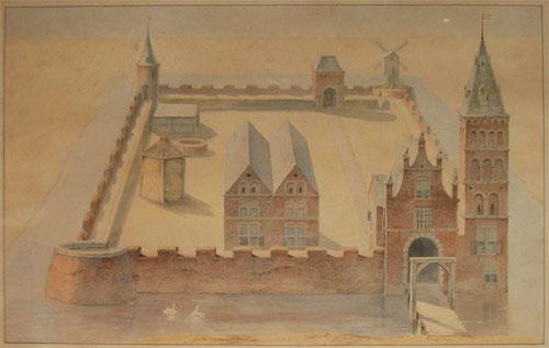 Schilderij van Schuilenburg, gebaseerd op een oude prent. Met dank aan: Mariette van Bruggen.
