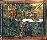 Excalibur wordt teruggegooid in het meer (miniatuur uit de 13de eeuw).