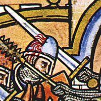 Zwaardwond, detail van tekening uit de 13de eeuw.