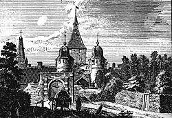 Homburgerpoort, anno 1743 9tekening van J. de Beyer).