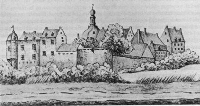 Kasteel Ulft, anno 1731 (tekening A. de Haen).
