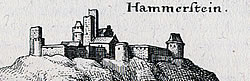 Kasteel Hammerstein in 1646 (Merian).