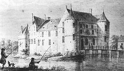 Huis Borculo, anno 1726 (tekening: A. de Haen).