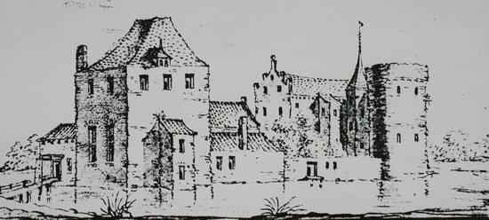 Kasteel Borculo, anno 1632 (tekening J. Stellingwerf).